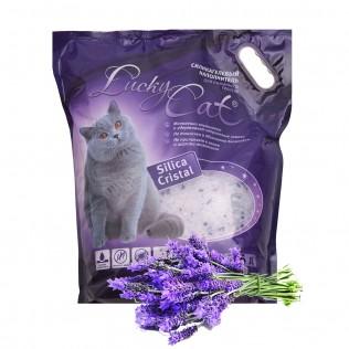 Впитывающий  силикагелевый  наполнитель для кошачьего туалета Lucky Cat aroma lavander , Лаки Кэт с ароматом лаванды. 22 л.