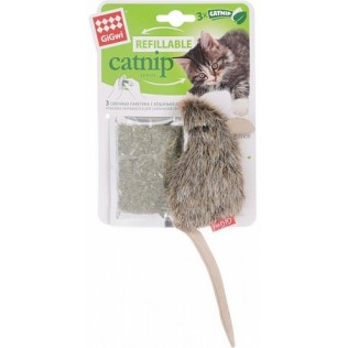 """GIGWI Игрушка для кошек """"Refillable Catnip Series"""" Мышка с кошачьей мятой 10 см АРТ 75300"""