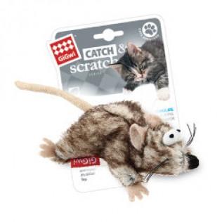"""GIGWI Игрушка для кошек """"Catch Skratch"""" Мышка с кошачьей мятой 8 см АРТ 75383"""
