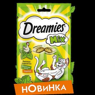 Dreamies MIX  лакомые подушечки для кошек с курицей и кошачьей мятой. 60 гр.