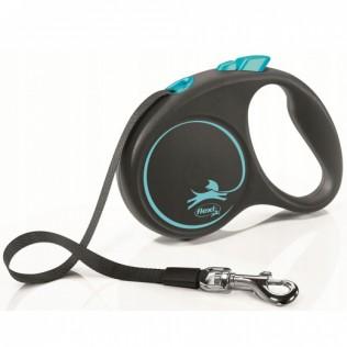 Рулетка-поводок для собак FLEXI Black Design S (до 15кг) 5м лента черный/синий