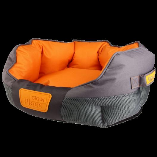 Лежак для кошек и собак  GiGwi Place, серо-оранжевый. Размер М- 75482. Размеры 600*500*300мм.
