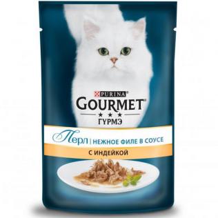 Purina Gourmet Perle. Влажный корм для кошек Гурмэ Перл старше 1 года нежное филе индейки в соусе.  Пауч 85 гр.