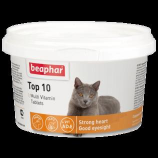 Beaphar Top 10 Multi Vitamin Tablets. Беафар Топ-10 мультивитаминная кормовая добавка для кошек и котят. 180 таблеток.