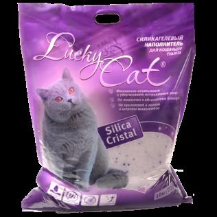Впитывающий  силикагелевый  наполнитель для кошачьего туалета Lucky Cat  natural ,Лаки Кэт   без аромата. 22 л.