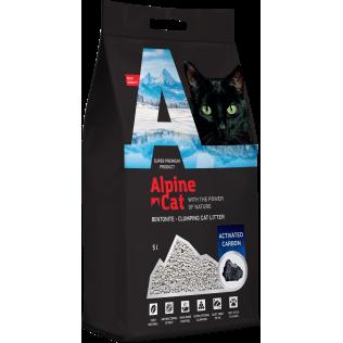 Комкующийся минеральный наполнитель Alpine cat Активированный уголь, 10л